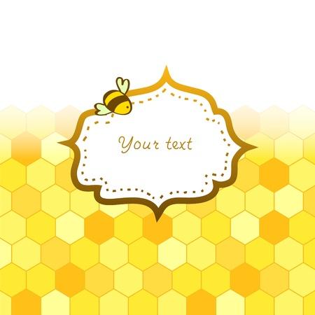 abejas: Colorful nido de abeja de oro con un fondo de la tarjeta marco