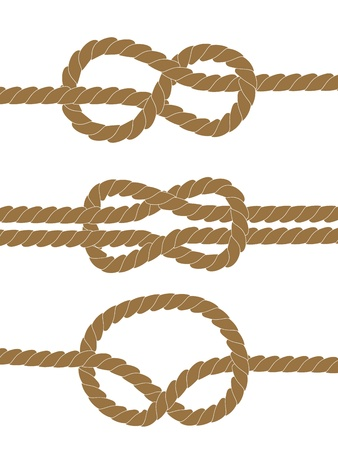 Nautical brown knots on white background Vector