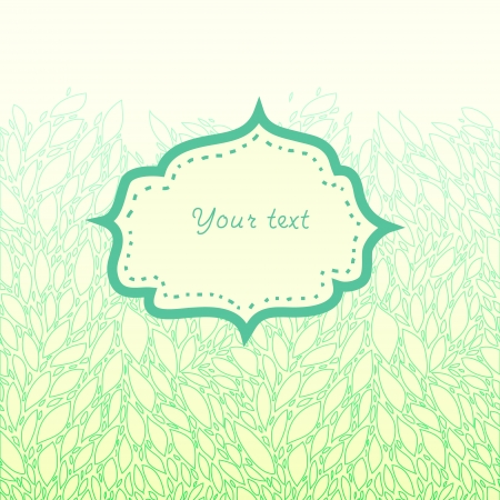 Delicate green leaves with a frame for your text card background Vector