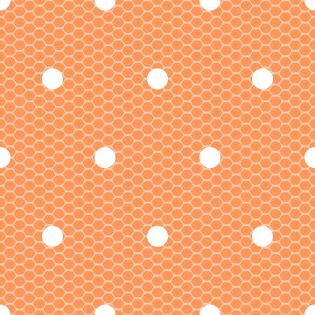 White polka dot on orange lace mesh seamless Vector