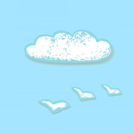 worn paper: Worn paper grunge white cloud and birds on a blue Illustration