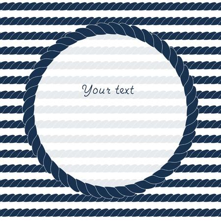 紺と白サークル ロープ フレームの背景のテキストまたはイメージ  イラスト・ベクター素材