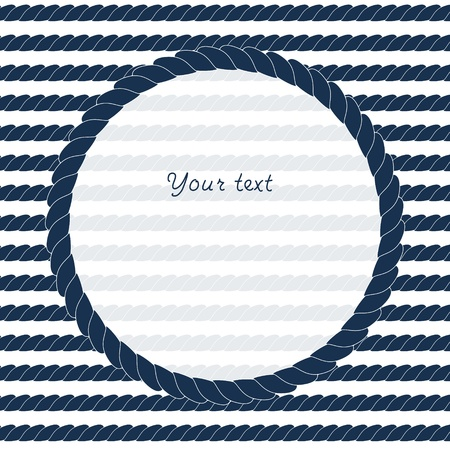 nautical rope: Navy blue and white circle rope frame background for your text or image