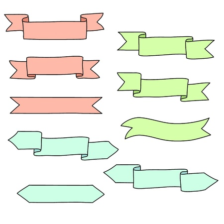 title hands: Colorful paper ribbon banners set, elements for advertising and web
