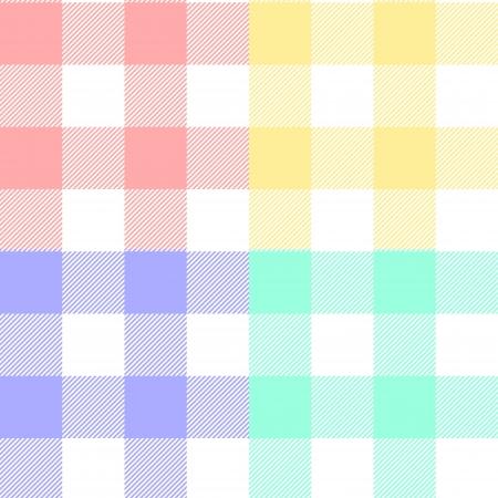 パステル カラーのギンガム チェック模様布の色のシームレスなパターンのセット  イラスト・ベクター素材