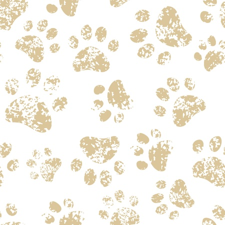 Cat or dog brown paw prints on white seamless pattern Illustration