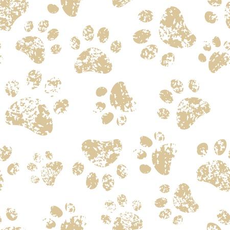 Kat of hond bruine poot afdrukken op wit naadloze patroon Stock Illustratie