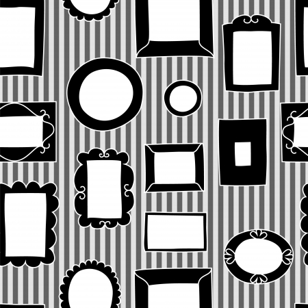 Gallery frames on a striped wall seamless pattern in black and white Vector