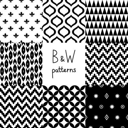 黒と白の幾何学的なシームレスなパターンを設定します。  イラスト・ベクター素材