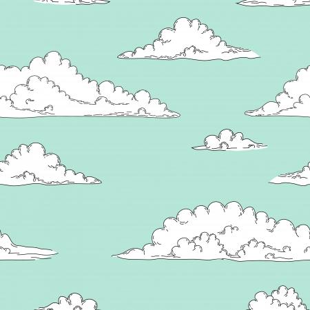 青い空のシームレスな背景の白い漫画ふわふわ雲