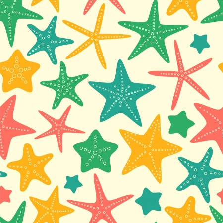 under the sea: Colorful starfishes summer seamless background