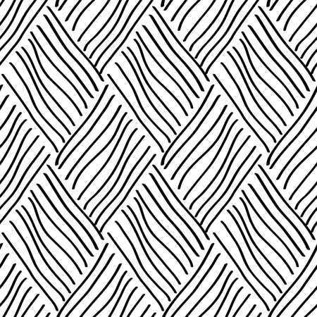 hand woven: Abstract rhombus woven black and white seamless pattern Illustration