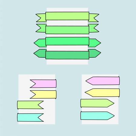 Colorful ribbon banners web elements set Vector