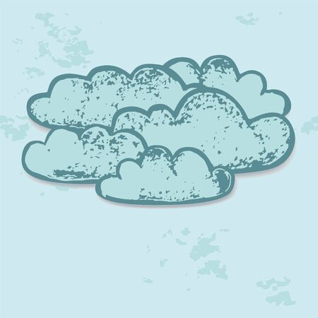 Grey clouds in the sky paper grunge background, vector Vector