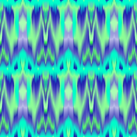 Colorful tie dye ethnic geometric fabric seamless pattern in blue and green, vector Vector