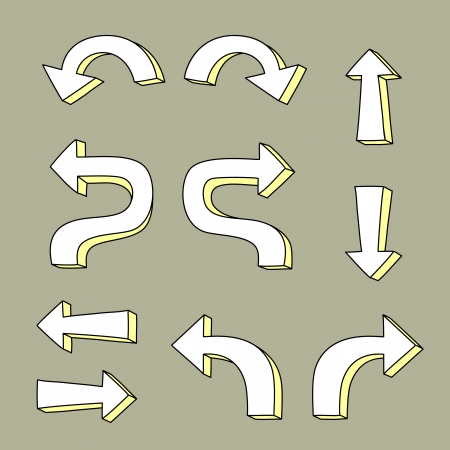 turn yellow: Black and white arrow pointers on gray web elements set, vector