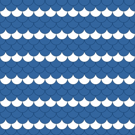 Blue and white scallop navy seamless pattern, vector Vector