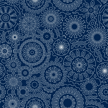 blue blanket: Christmas snowflake lacy crochet seamless pattern in blue and white, vector
