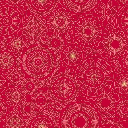 Christmas snowflake lacy crochet seamless pattern in red and yellow, vector Vector