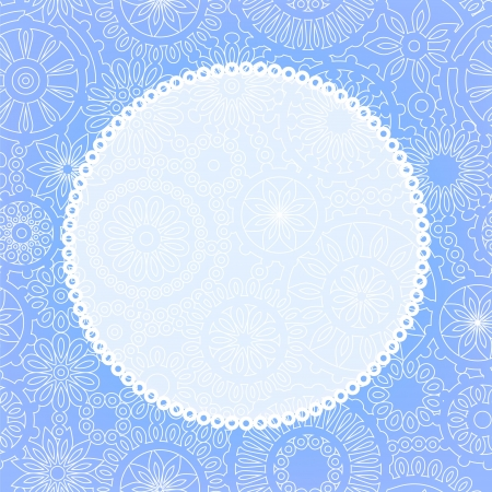 lace vector: Delicate floral lace greeting card background for your text or image in blue, vector Illustration