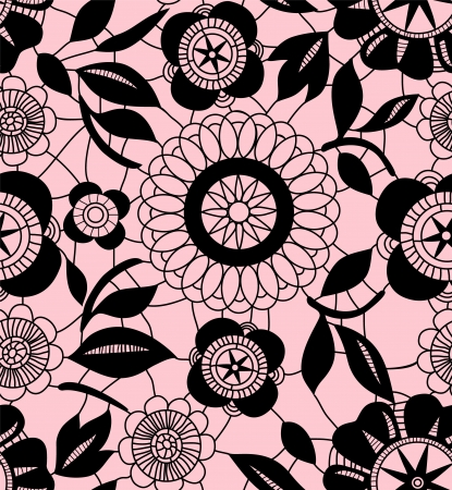 Black delicate floral lace on pink seamless pattern, vector Vector
