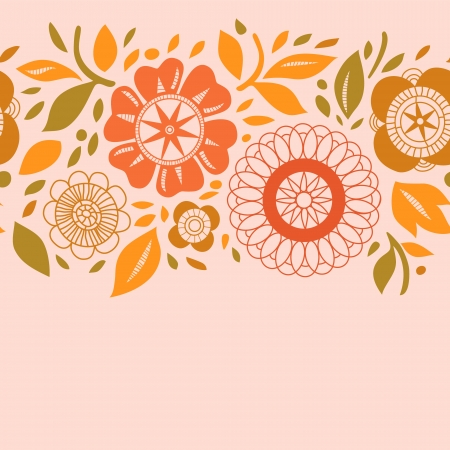 Flowers and leaves in warm pastel colors autumn seamless background, vector Vector