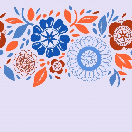 Flowers and leaves in orange and blue autumn seamless background, vector Vector
