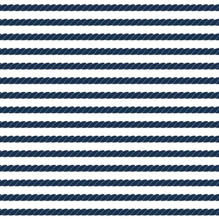 青と白、ベクトルで海軍ロープ ストライプ シームレスなパターン  イラスト・ベクター素材