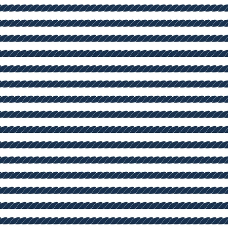 nautic: Navy rope striped seamless pattern in blue and white, vector