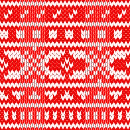 Knitted scandinavian sweater seamless pattern in red and white, vector Vector