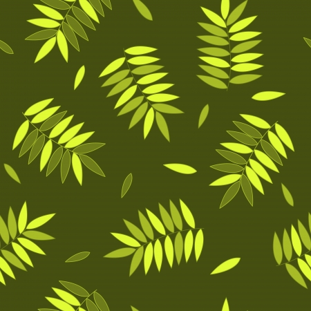 Green and yellow autumn leaves seamless pattern, vector Vector