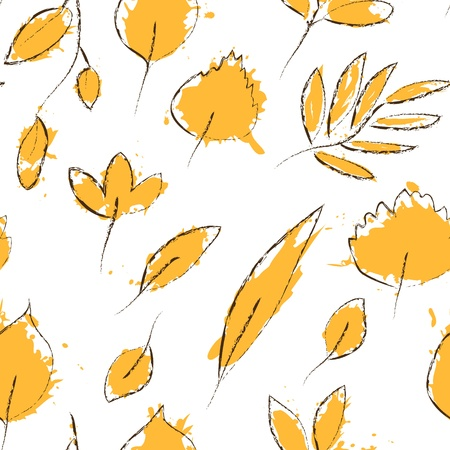 black and white leaf: Yellow autumn leaves on white grunge seamless pattern, vector