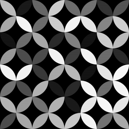 Gray overlapping circles abstract geometric seamless pattern on black, vector