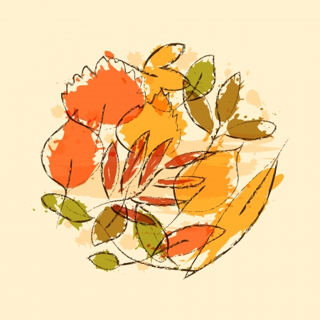 herbarium: Colorful grunge autumn leaves collection in circle composition background, vector