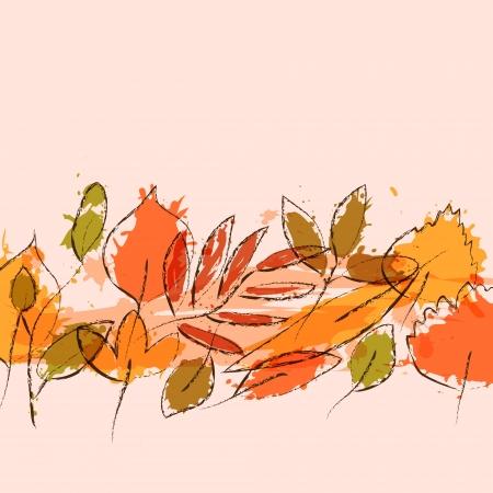 herbarium: Colorful grunge autumn leaves stripe background, vector