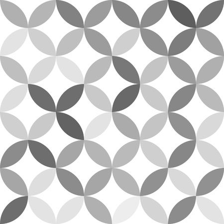 intersect: Gray overlapping circles abstract geometric seamless pattern on white, vector