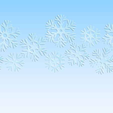 Blue and white paper snowflakes christmas seamless pattern Vector