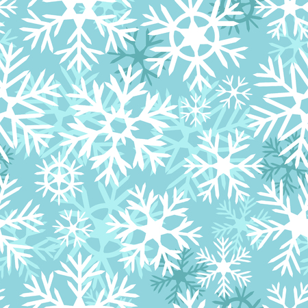 Blue and white snowflakes christmas seamless pattern Vector