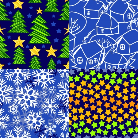 Christmas seamless patterns set in blue and white - snow, christmas trees, winter village, stars  Vector Vector