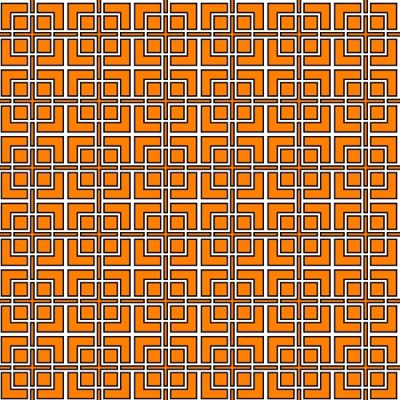 trellis: Black white and orange geometric lattice seamless pattern