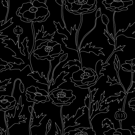 Black and white graphic poppy flowers seamless pattern Vector