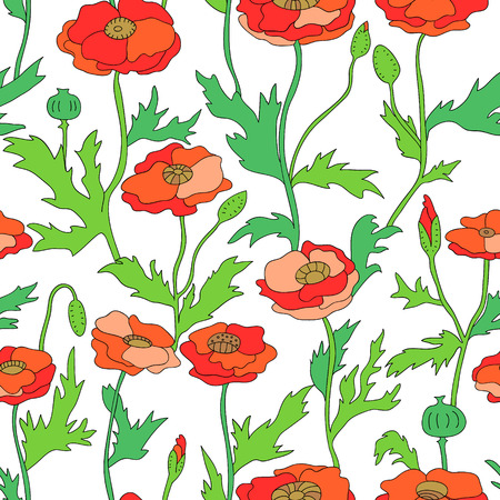 Red and green poppy flowers seamless pattern on white