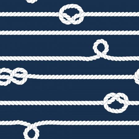 Marine et des cordes blanches avec des noeuds marins, seamless