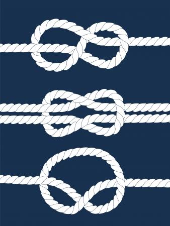 海軍ロープ航海の結び目暗い青色の背景に白、ベクトル  イラスト・ベクター素材