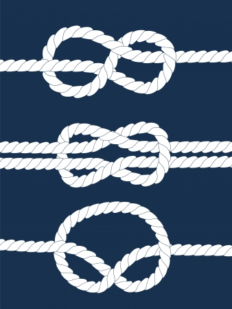 White navy rope with nautical knots on dark blue background, vector Vettoriali