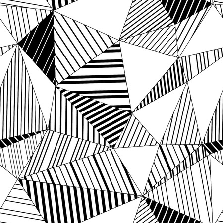 Abstract geometric striped triangles seamless pattern in black and white