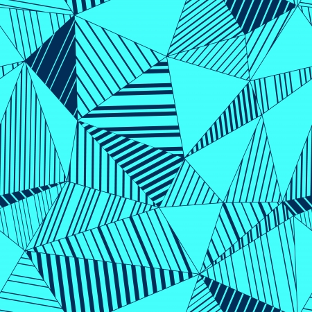 Abstract geometric striped triangles seamless pattern in turquoise blue Vector