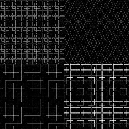 Black and white abstract geometric simple seamless patterns set, vector Vector