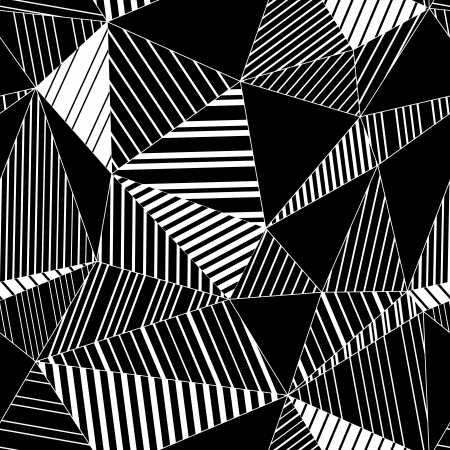 Abstract geometric striped triangles seamless pattern in black and white, vector Vector