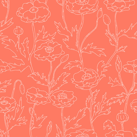 Pastel red and white poppy flowers seamless pattern, vector Vector